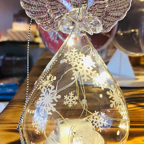 Light Up Glass Angel with Snowflakes