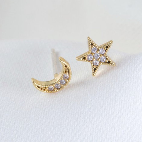 Moon and Star Crystal Stud Earrings in Gold