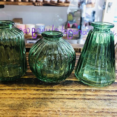 Green Glass Bud Vases - Set of 3