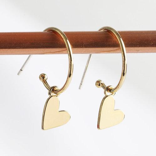 Gold Falling Heart Charm Hoop Earrings