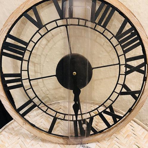 Black Skeleton & Rustic Wood Clock
