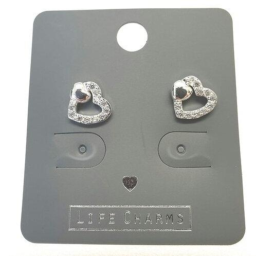 Cubic Zirconia Two Hearts Earrings