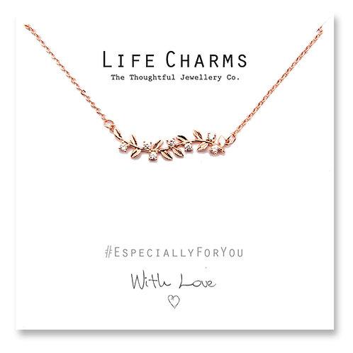 EFY Rose Gold Crystal Leaves Necklace