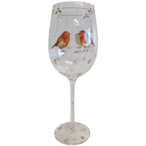 Robin Christmas Wine Glass