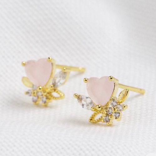 Pink Crystal Heart Stud Earrings in Gold