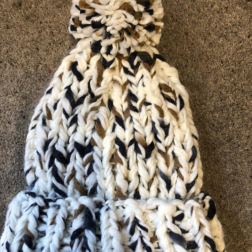Ladies Hand Knit Feel Chunky Bobble Hat