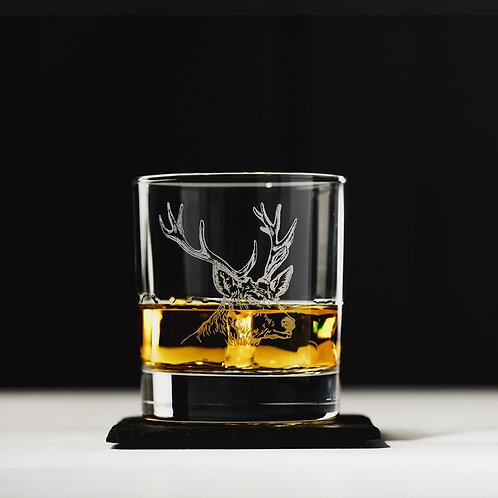 Engraved Glass Tumbler with Slate Coaster Gift Set
