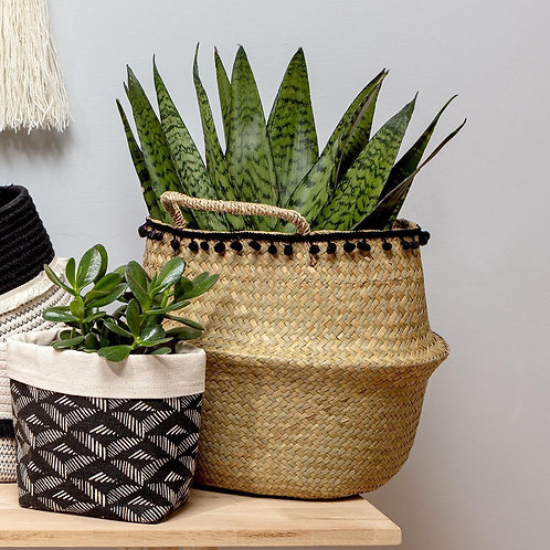 Black Pom Seagrass Basket