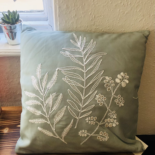 Embroidered Green Cushion