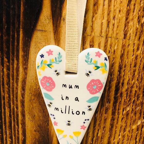 Mum Ceramic Heart Hanger