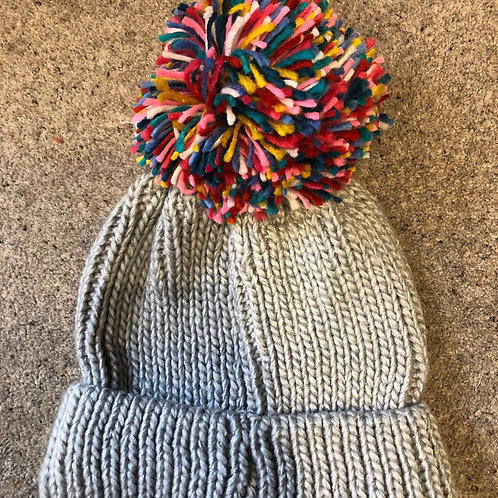 Ladies Extra Large Multi Knitted Pompom Hat
