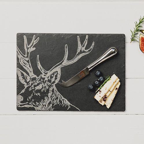 Slate Stag Cheeseboard with Knife