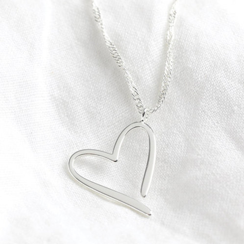 Signature Heart Outline Pendant Necklace in Silver