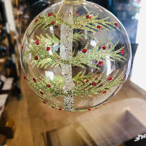 Glitter Tree Glass Bauble