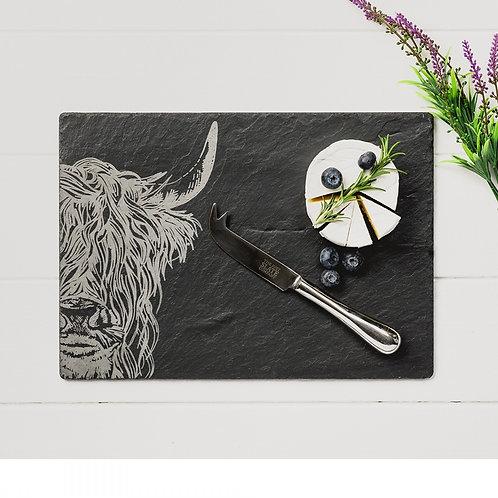 Slate Highland Cow Cheese Board & Knife