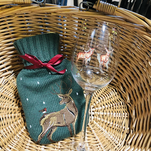 Stag Wine Glass & Hot Water Bottle Gift Bundle