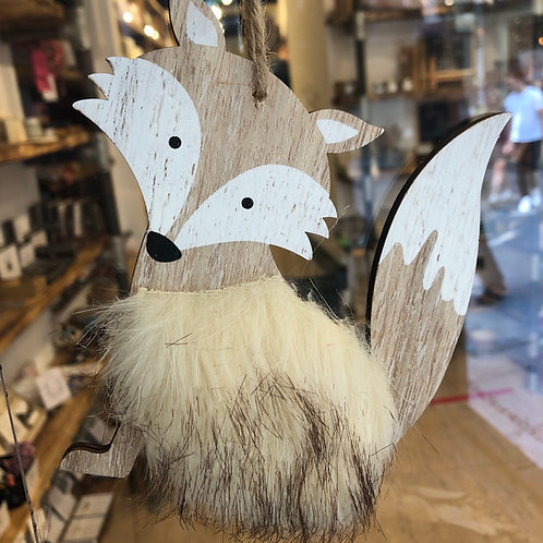 Hanging Wooden Fox with Faux Fur
