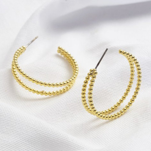 Dotted Double Hoop Earrings in Gold