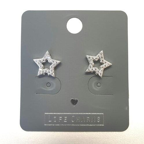 Cubic Zirconia Open Star Earrings