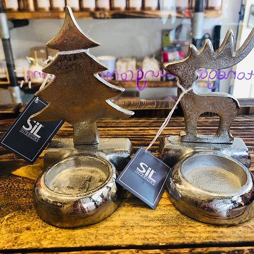 Silver Aluminium Tealight Holders
