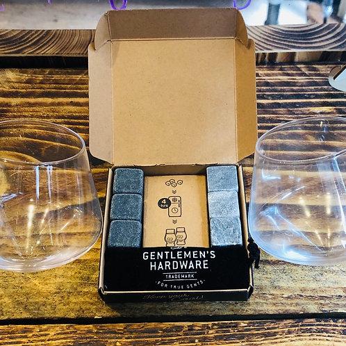 Set of 2 Rocking Whisky Glasses & Whisky Chillers Gift Bundle