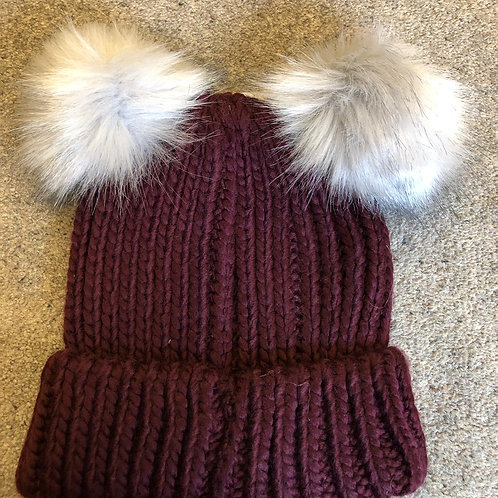 Ladies Double Faux Fur Pompom Hat