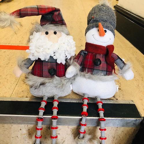 Sitting Dangly Legged Santa/Snowman