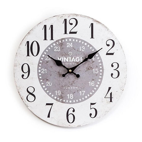 White & Grey Faced Wall Clock