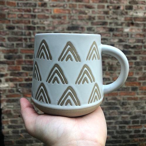 Wax Resist Triangles White Mug