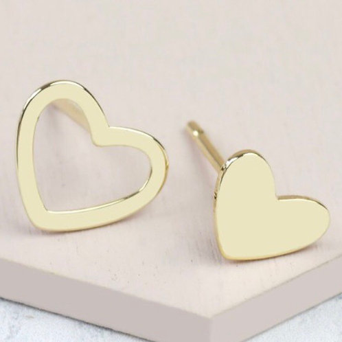 Mismatched Heart Stud Earrings in Gold
