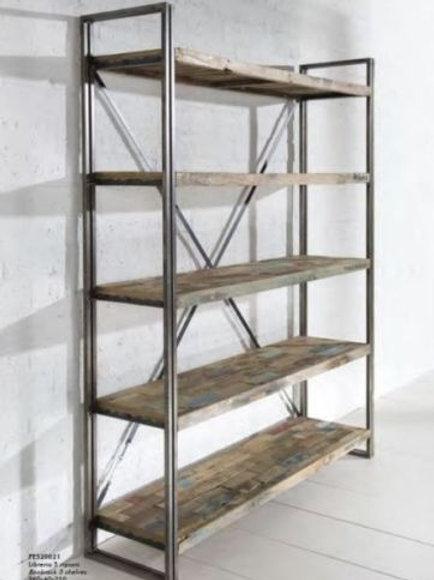 Libreria design vintage legno ferro