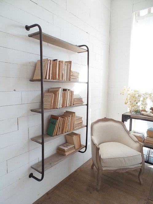 Libreria a muro vintage legno ferro