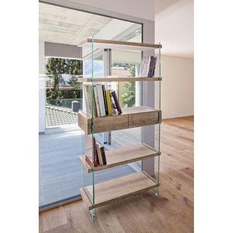 Libreria design vetro e legno