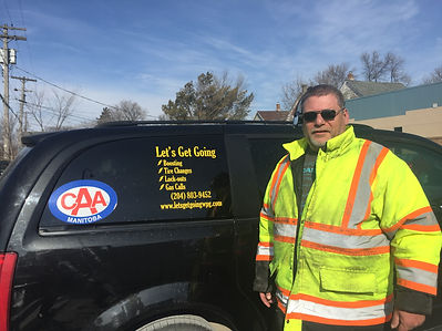 John Bonkowski, Owner Operator of Let's Get Going.  Let's Get Going provides 24/7 roadside assistance in Winnipeg.  Services include: boosting, tire changes, unlocking services and fuel calls.