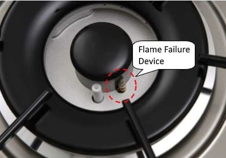 Newmatic cooktop flame failure device appliance