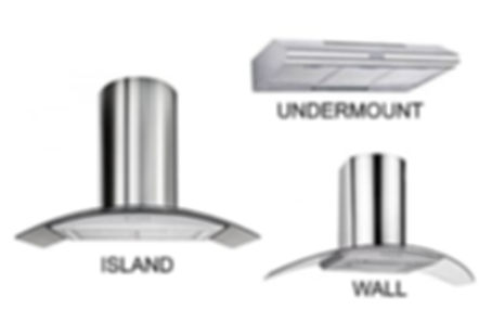 Newmatic island wall undermount kitchen hoods