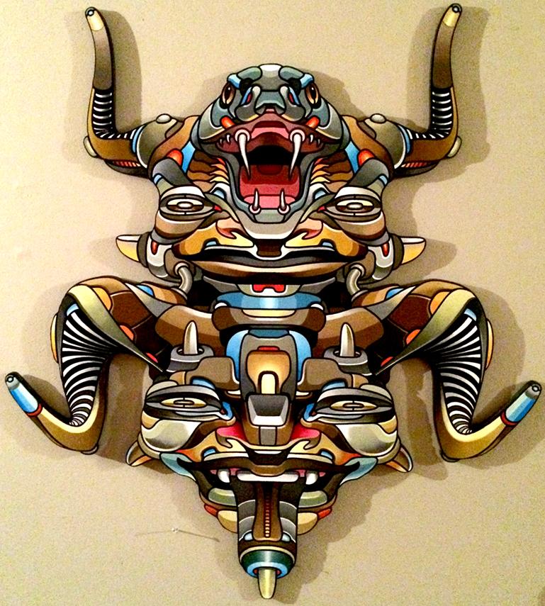 Snakehead Mask: Wood & Acrylic