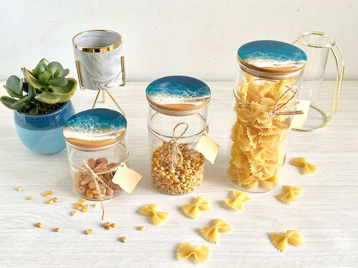 Glass Canisters - Aqua