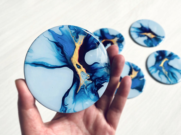 Wood Coasters - Set of 6 - Steel Blue