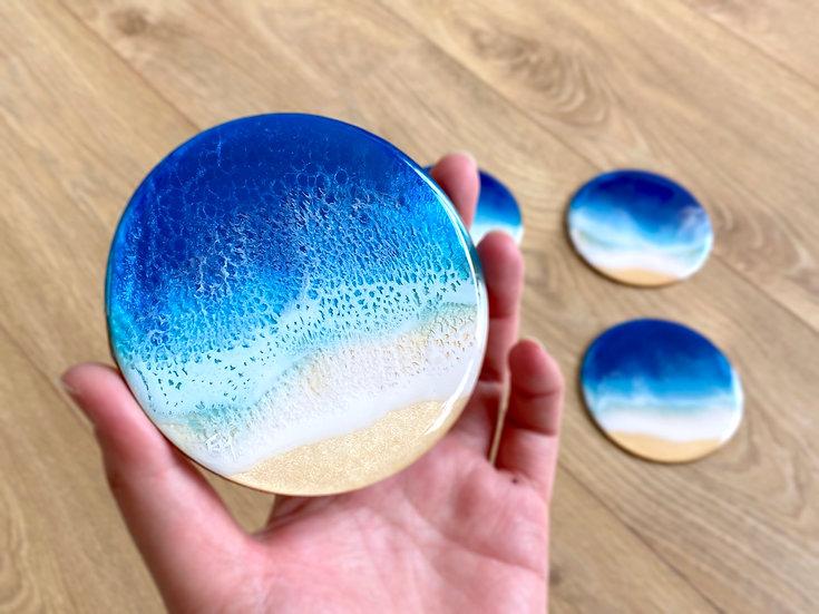Wood Coasters - Set of 4 - Blue Diamond