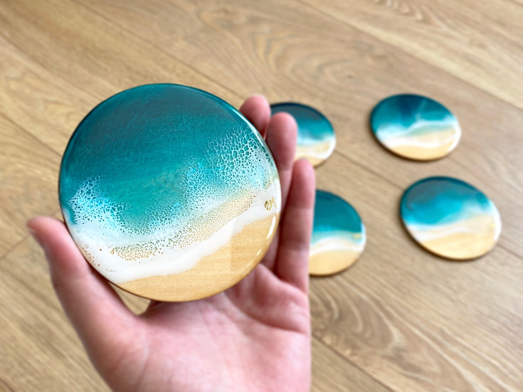 Wood Coasters - Set of 6 - Turquoise Ocean