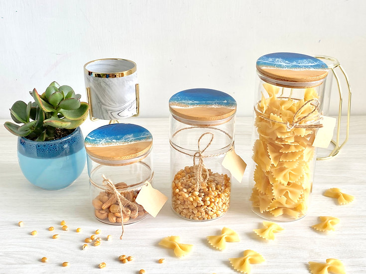 Glass Canisters - Blue Diamond