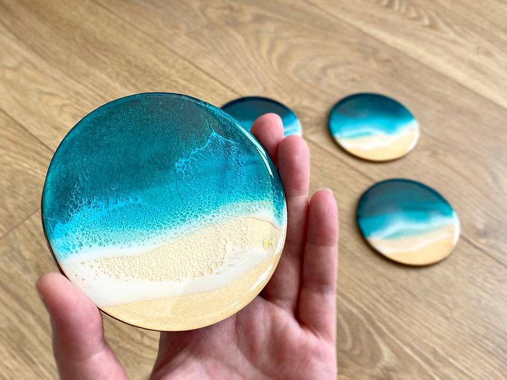 Wood Coasters - Set of 4 - Turquoise Ocean