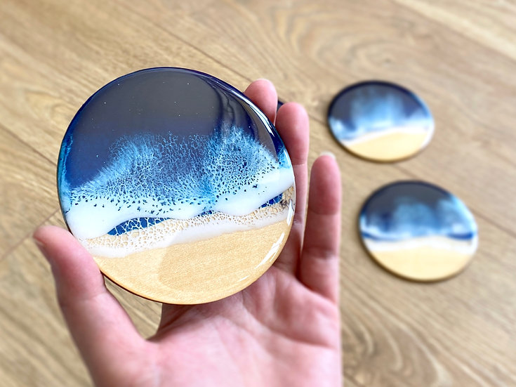 Wood Coasters - Set of 4 - Midnight Blue