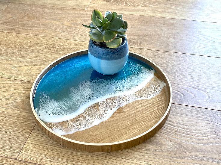 Wood Serving Tray - Aqua (light)