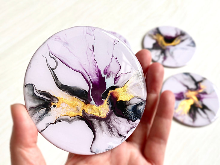 Wood Coasters - Set of 4 - Burgundy