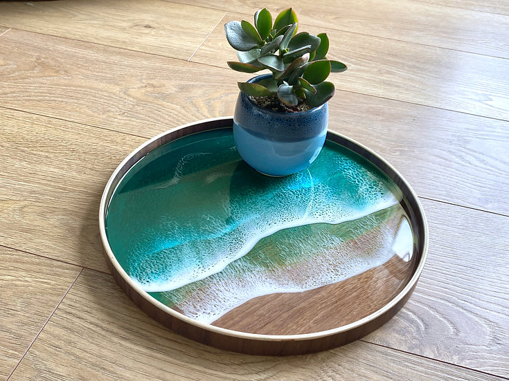 Wood Serving Tray - Turquoise