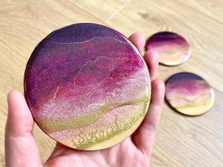 Wood Coasters - Set of 4 - Violet