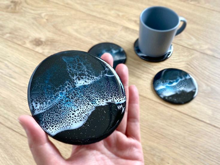 Wood Coasters - Set of 2 - Midnight Ocean
