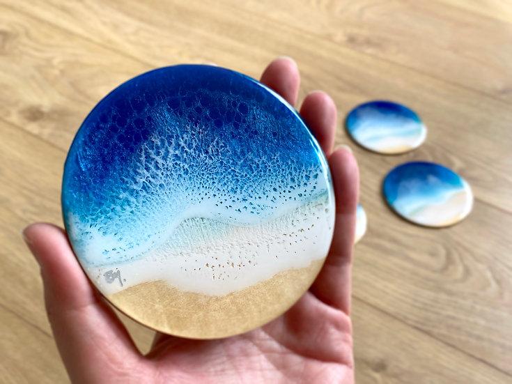 Wood Coasters - Set of 6 - Blue Diamond